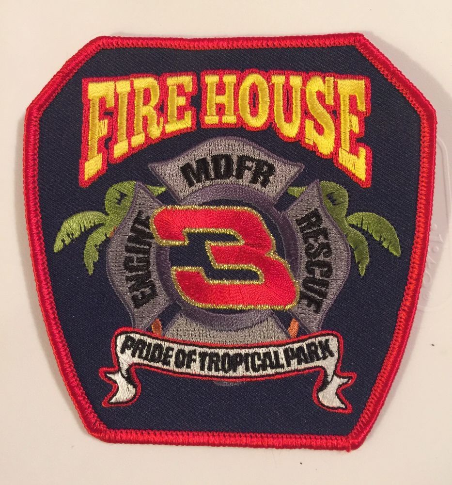 MIAMI DADE FIRE DEPT STATION PATCH ENGINE RESCUE 3 MDFD TRUCK