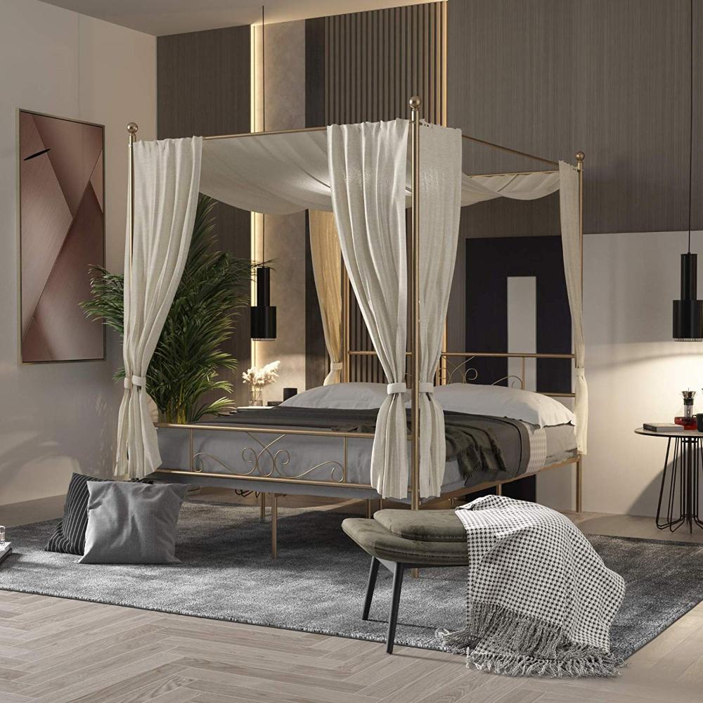 Amazon Queen Canopy Bed Frame Metal Platform 4 Posters
