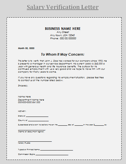 A Salary Verification Letter Is An Official Issued By Employer To Verify Important Information Related