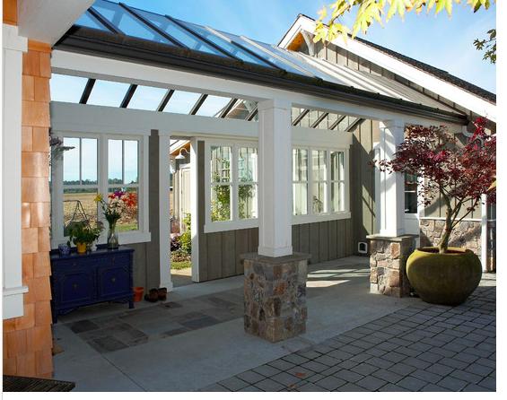 Interesting Open Breezeway With Glass Roof Farmhouse Patio Breezeway Farmhouse Design
