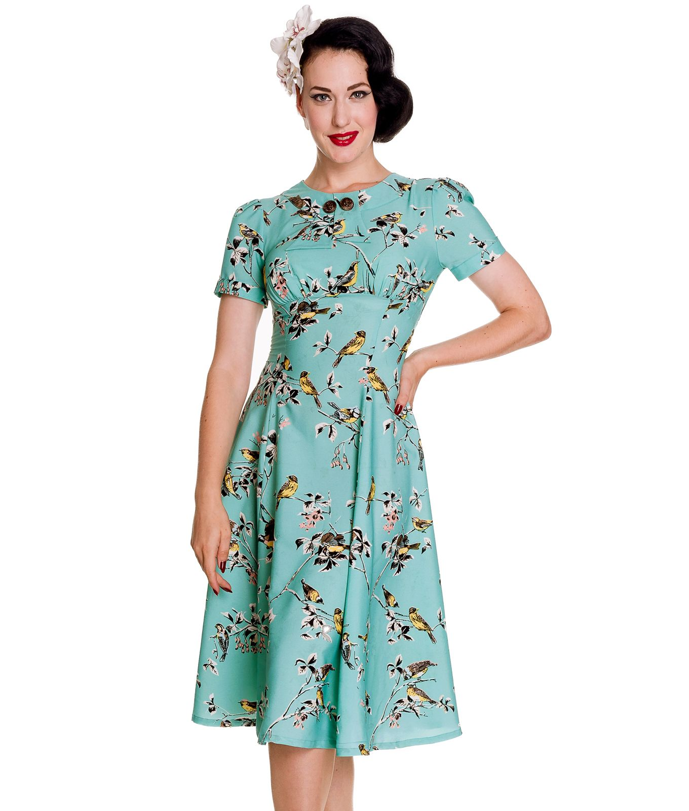 Beautiful ss style tea dress with pretty retro style print