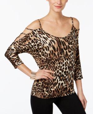 856aca132129b1 Thalia Sodi Animal-Print Cold-Shoulder Top, Only at Macy's - Brown ...