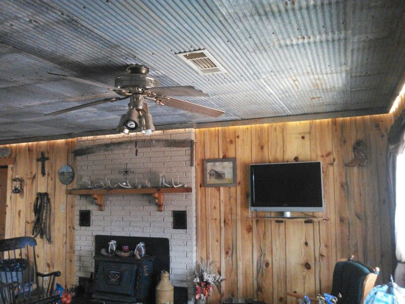 Galvanized tin ceiling rustic decor wood board walls rope lights
