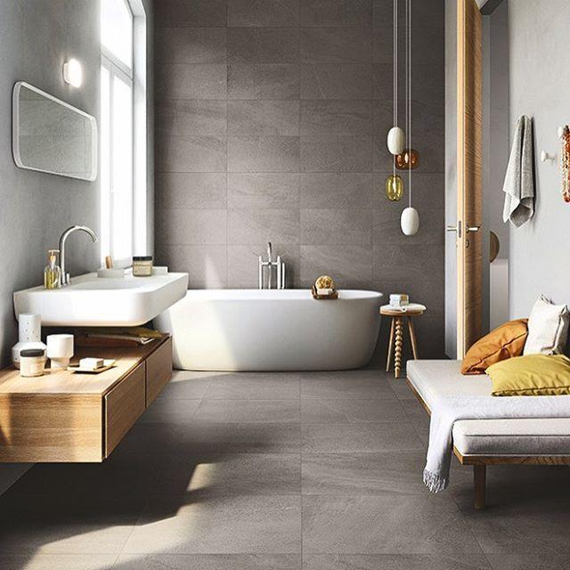 Bathroom goals. Designed using Domus Limestone tiles, a porcelain replica of limestone that captures all its classic beauty #tileinspiration #styling #interiorstyling #interiors #limestone #tiles #bathroom #bathroomdesign #design #interiordesign #interiordesigninspiration #walltiles #floortiles #grey #homedecor #decorinspiration