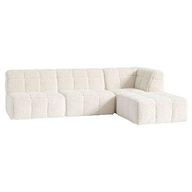 Baldwin Sectional Super Sectional Set Ivory Sherpa Sofa
