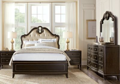 Camrose Black 5 Pc King Panel Bedroom With Champagne Inset Adorable Black Queen Bedroom Sets Design Inspiration