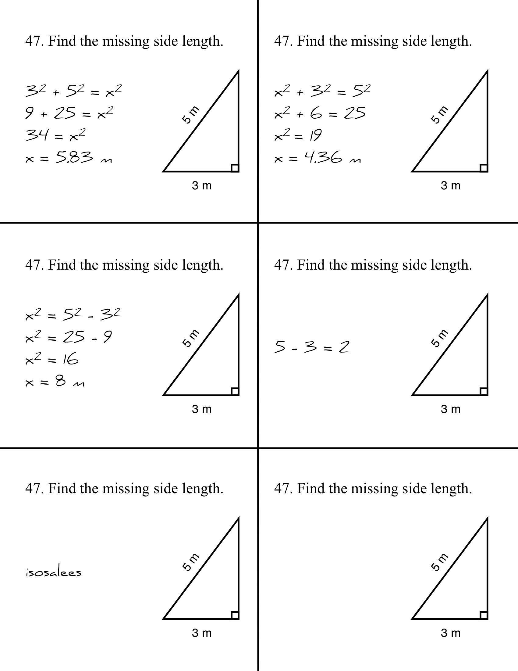 Pythagorean Mistakes Pythagorean Theorem Worksheet Pythagorean Theorem Teaching Geometry