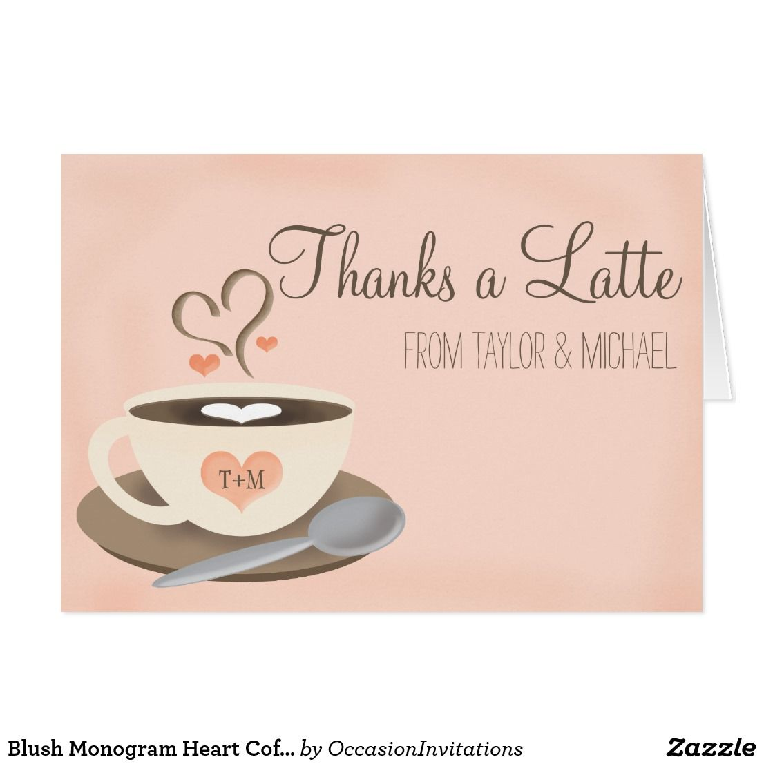 83bea0ef6c9 Blush Monogram Heart Coffee Cup Wedding Thank You Card Espresso your joy  and thanks with a latte love with these sweet and pretty coffee themed  wedding ...