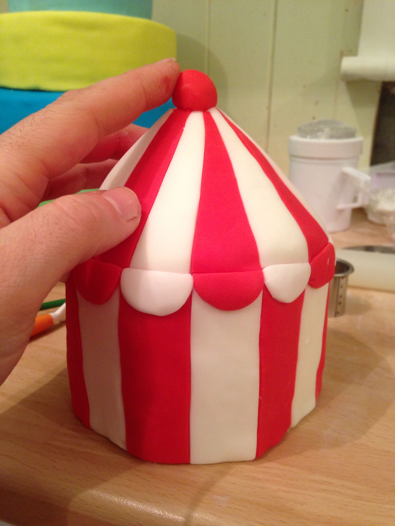 Using styrofoam for this topper carving and adding fondant to create this circus tent. & Using styrofoam for this topper carving and adding fondant to ...