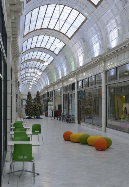 We Re Located In The 5th Street Arcades Our Side Was Designed By Architect Franz Childs Warner This One Story Shoppin Barrel Vault Ceiling Studio Architect