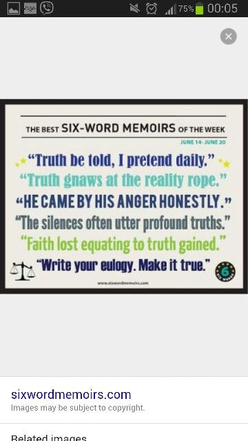 six word memoir What's your 'six-word memoir' once asked to write a full story in six words, legend has it that novelist ernest hemingway responded: for sale: baby shoes, never worn.