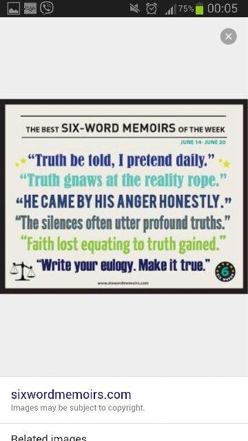 six word memoir 6