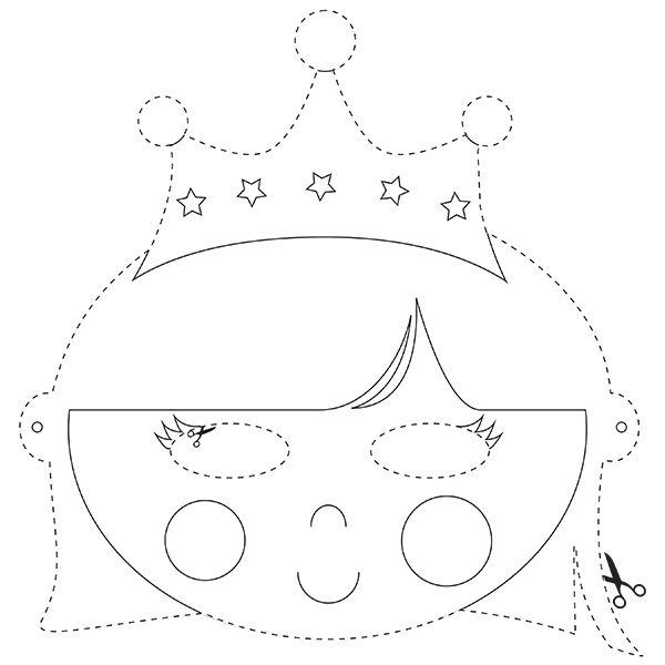 Kleurplaten Van Prinsessen En Prinsen.Masker Van De Koningin Kleurplaat C Papiergoed Papiergoed