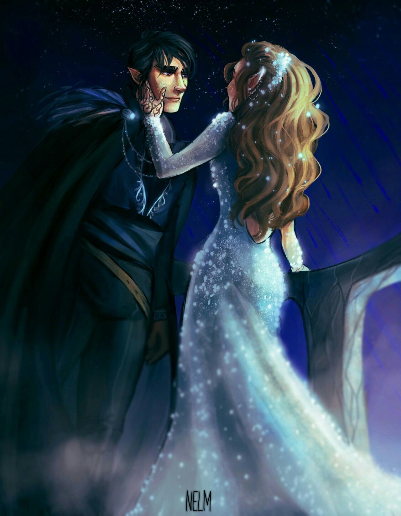 Feyre And Rhys Fan Art Starfall With Images A Court Of Mist
