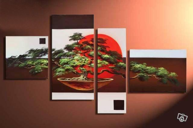Hand Painted Japanese Bonsai Tree 4 Piece Wall Art Free Global Shipping Framed With Images Bonsai Tree Painting Tree Wall Art Red Wall Art