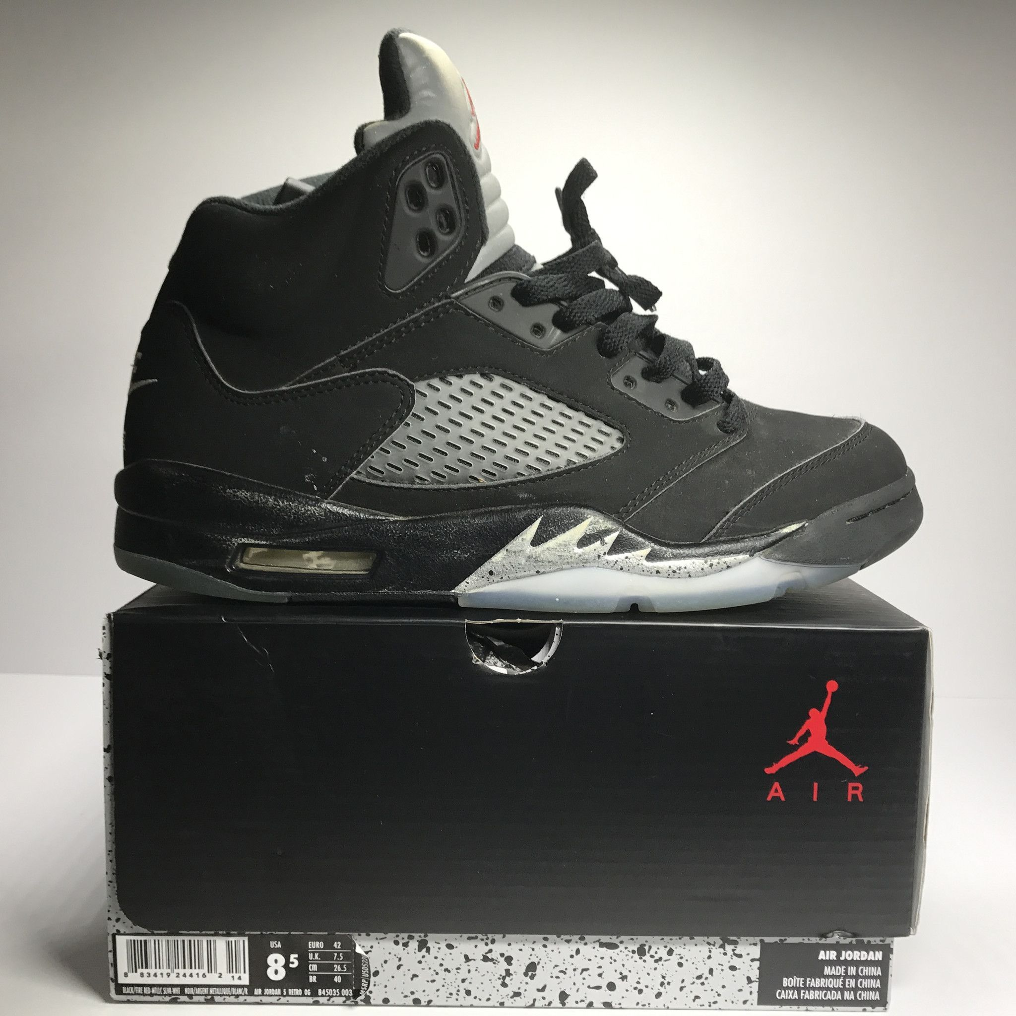 Nike Air Jordan 5 V Retro OG Metallic Black Size 8.5