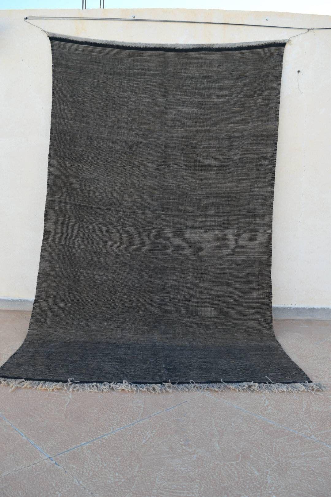 Zanafi Berber Rug Black White Kilim Moroccan Of Anti Atlas Gray Area 5x8 By Berberliving On Etsy
