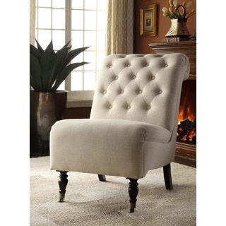 Shop For Linon Sophie Cream Fabric Tufted Back Accent Chair, Dark Espresso  Legs. Get