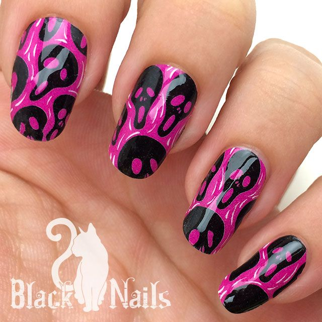 Omg Nail Strips Review Pink Scream For Halloween Halloween Nail Wraps Halloween Nails Nails Cat Nails