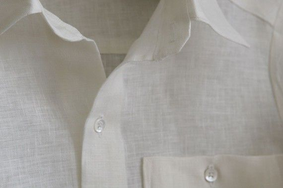 Ovation Boy Linen Shirt in White size by finehandmadeclothing, $70.00