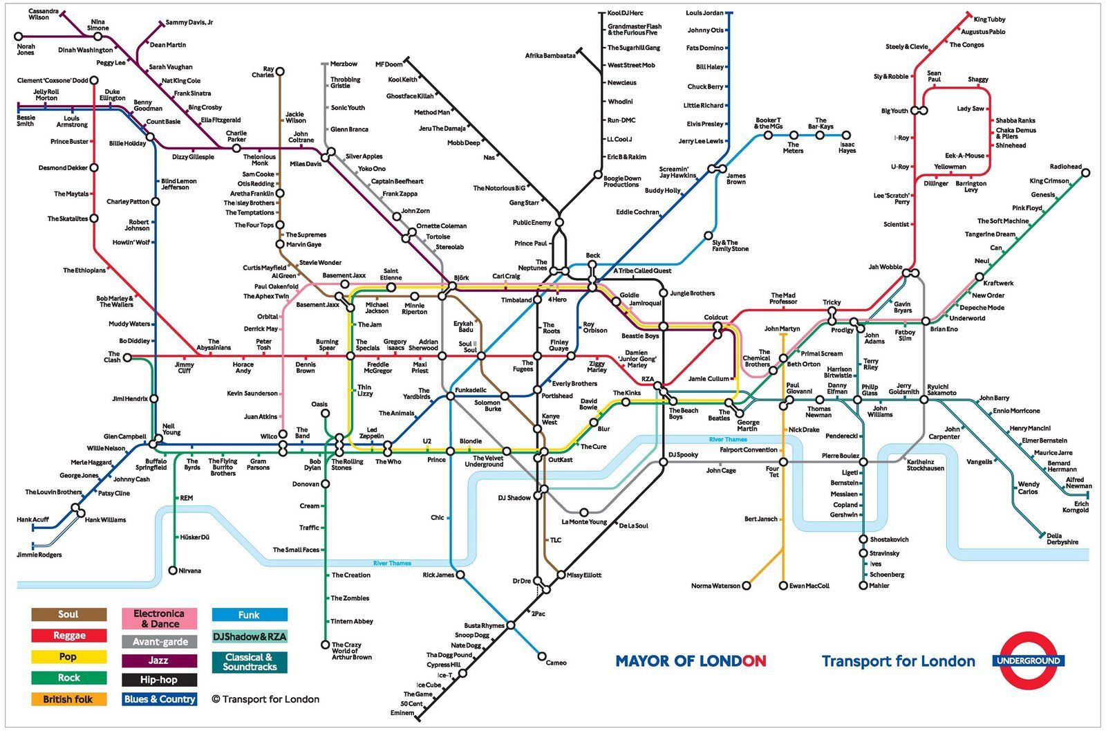 London Tube Map With Musical Genres Underground Map London
