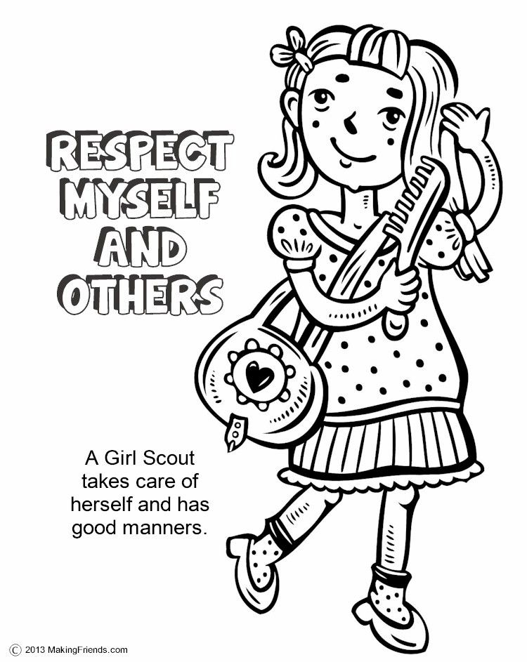 The Law Respect Myself And Others Coloring Page Girl Scout Daisy Activities Girl Scout Law Daisy Girl Scouts