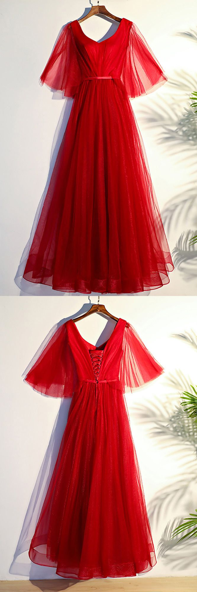 Flowy red butterfly sleeves long formal party dress myx