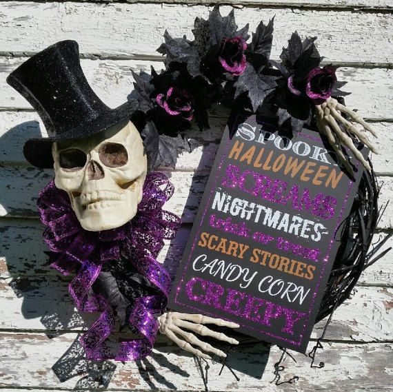 NEW ... Mr.Bones Skeleton Wreath is Halloween by TheRobinsNestMI