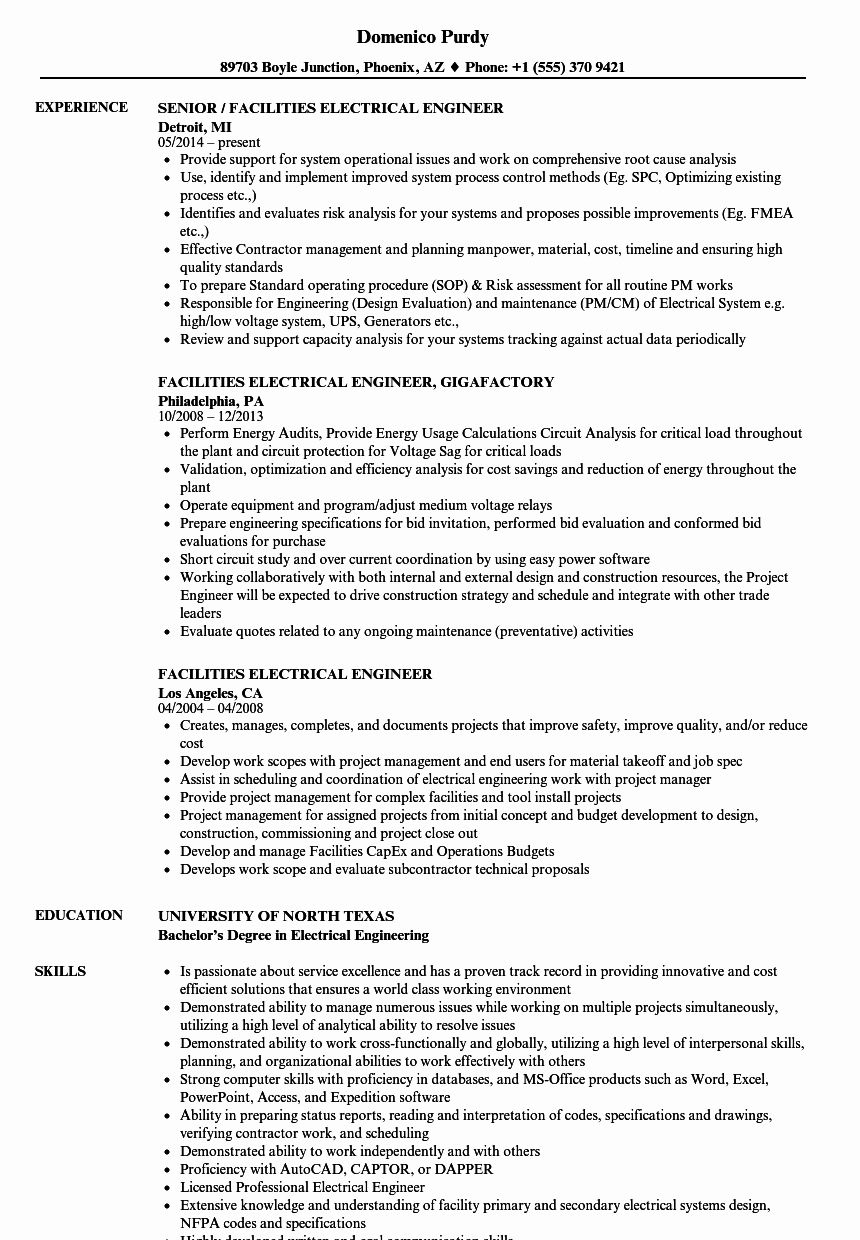 Entry level electrical engineer resume lovely facilities