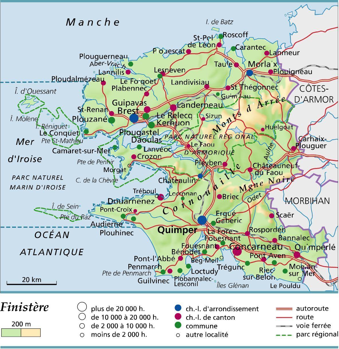 Carte Du Finistere Carte Bretagne Finistere Carte De France Region
