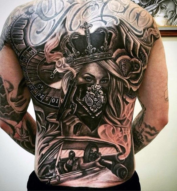 Queen Mens Chicano Themed Full Back Tattoos