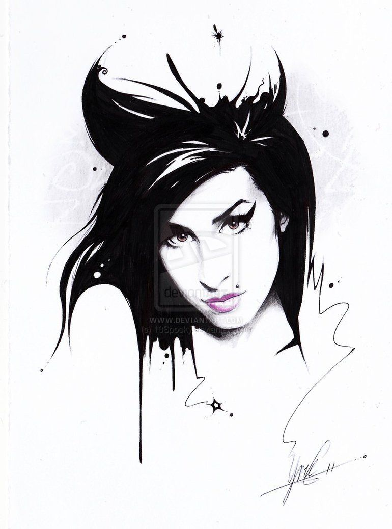 black and white amy winehouse drawing - Google Search