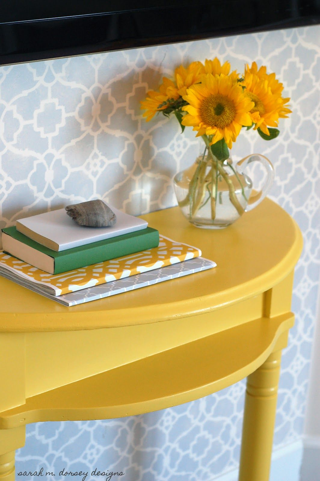 sarah m. dorsey designs: Master Bedroom Trellis Stencil Wall ...