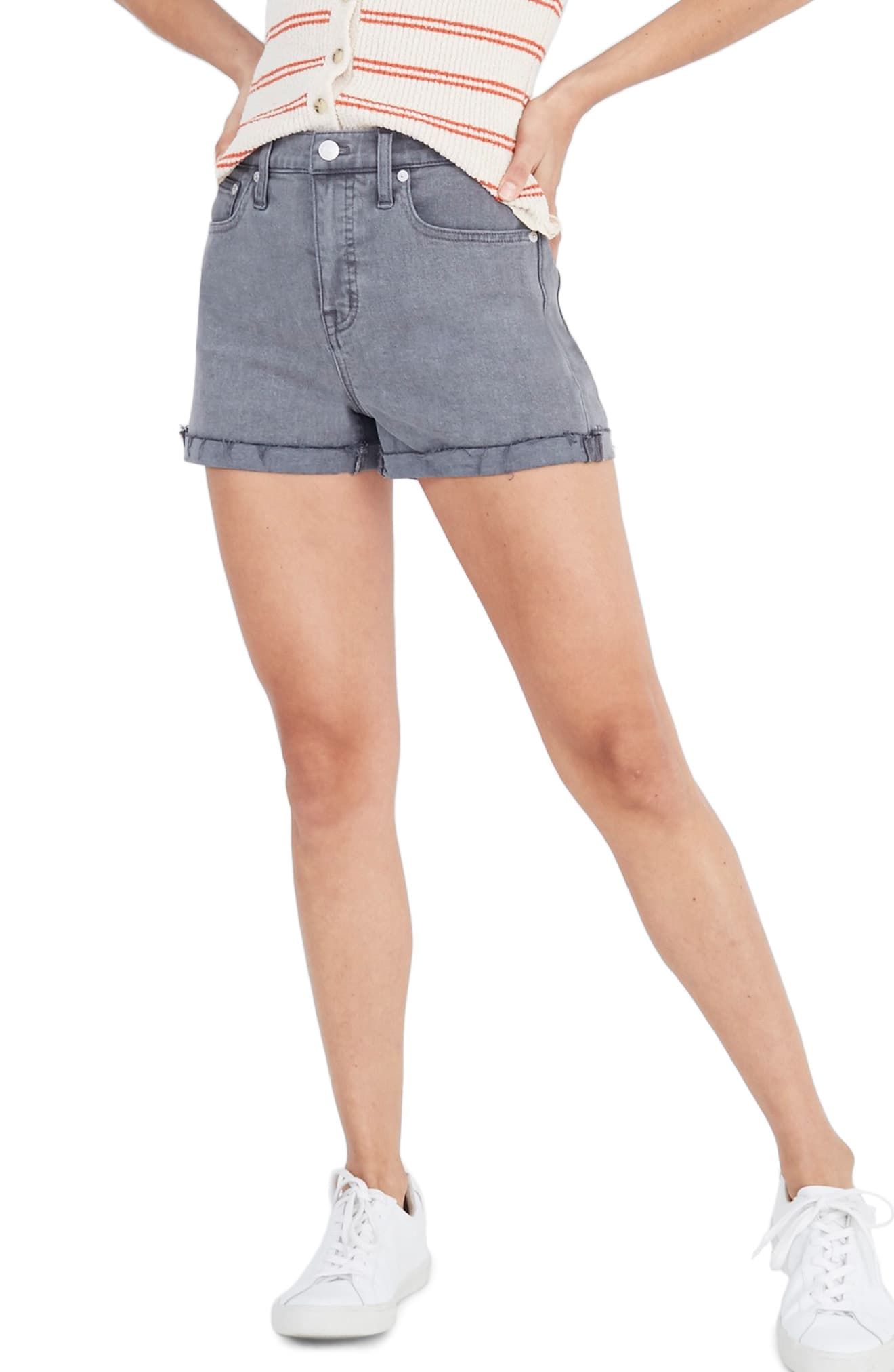6c2f8e09f Women's Madewell High Waist Cutoff Denim Shorts, Size 23 - Grey in ...