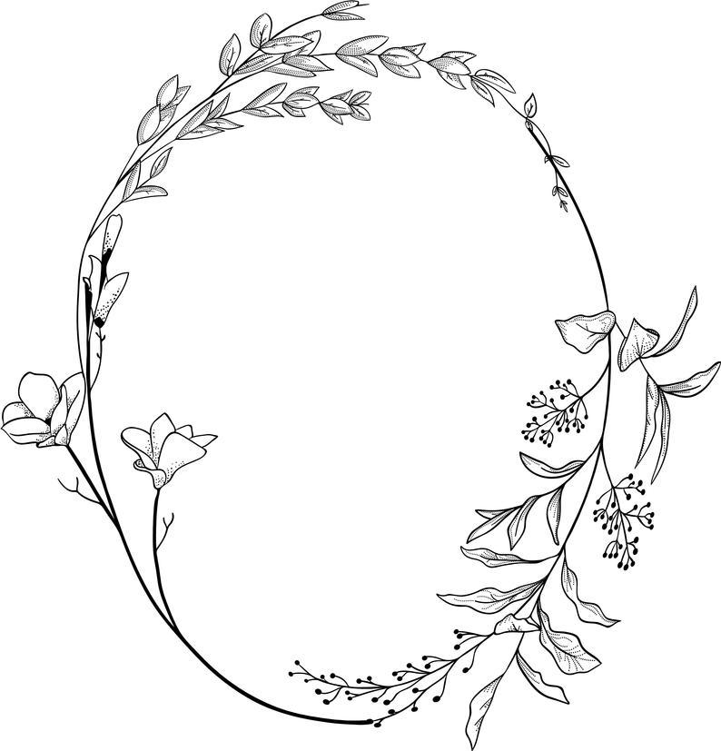 Hand Drawn Floral Clipart Floral Logo Art Floral Wreath Clipart Floral Logo Elements Floral Illustration -ACGABW10 Floral Clip Art