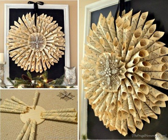 How To Make Christmas Wreath With Old Book Pages