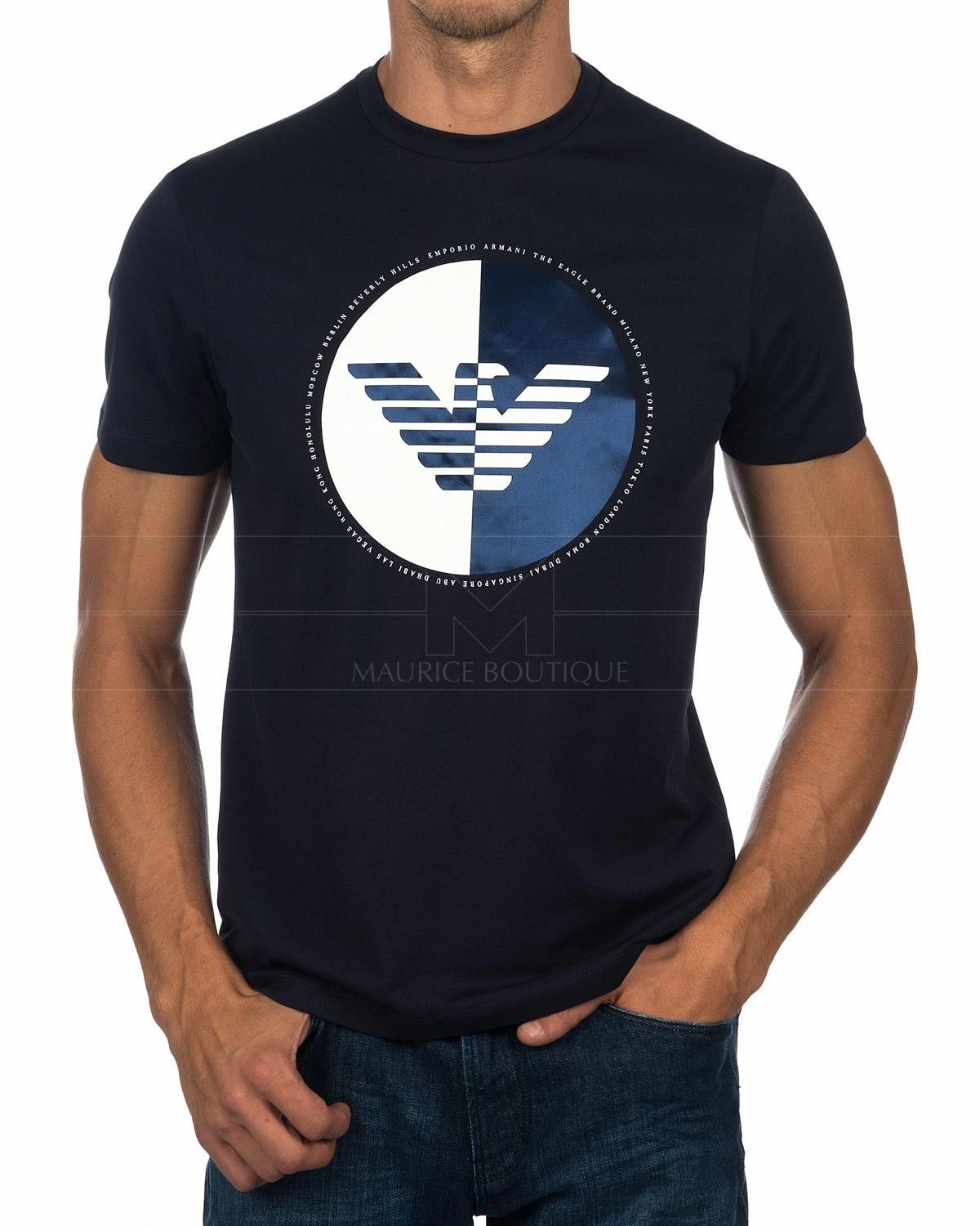 eb5f681f Emporio Armani T Shirt - Blue & White Eagle in 2019 | SAVCO ...