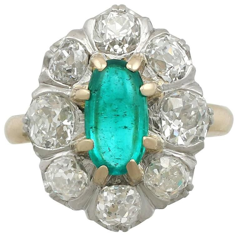 1920s Antique 1.50 Carat Emerald and 2.85 Carat Diamond Yellow Gold Cluster Ring For Sale