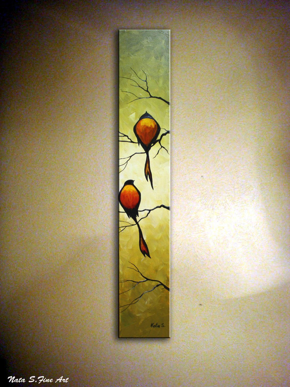 Romantic Bird Original Oil Painting Abstract Birds Artwork Palette ...