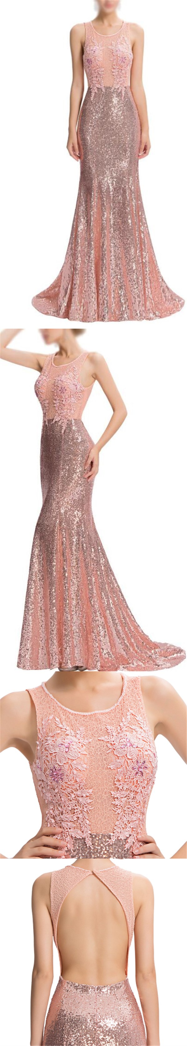 2017 Rose Gold Sequin Cheap Open Back Mermaid Lace Prom Dress ...