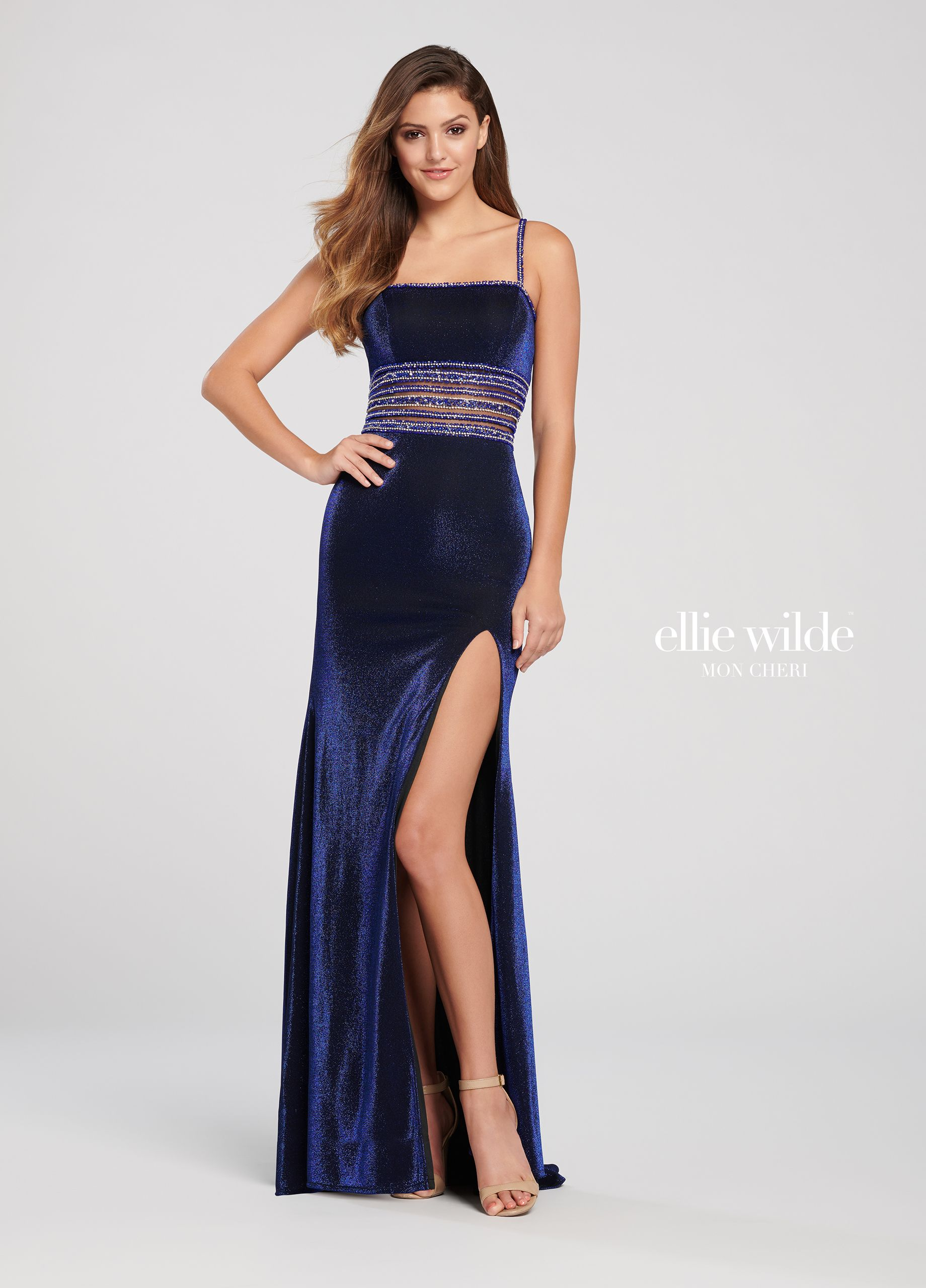 85e62cc263 Ellie Wilde EW119171 - Sleeveless jersey sheath gown with a beaded straight  across neckline