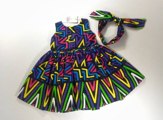Ankara Baby Girls Dress With Head Band, African Cl