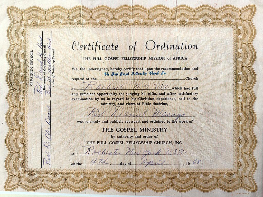 Free Pastor Ordination | Ordination Certificate