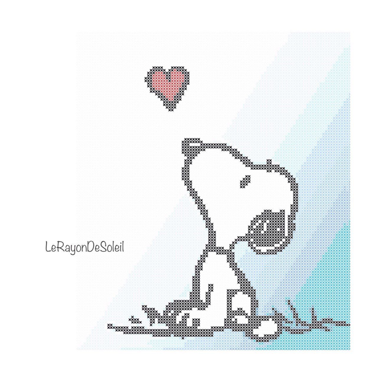 Cross stitch pattern Snoopy love dog pet Valentine Instant download ...