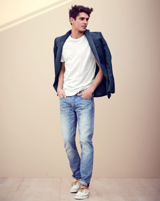 FEB Style Guide: J.Crew men's broken-in crewneck tees, faded light wash 484  jeans, and Vans for J.