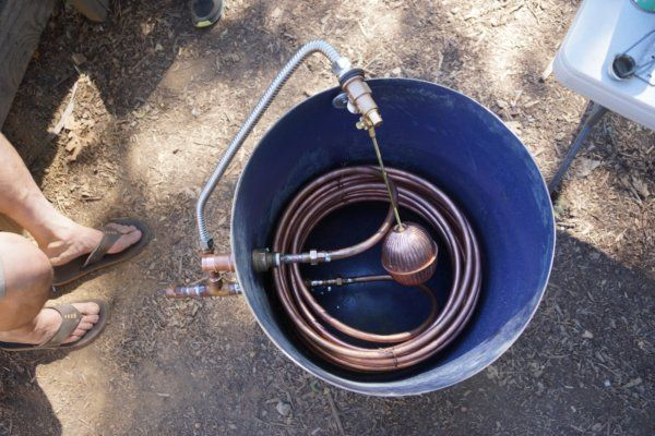 Rocket Hot Water Heater Old Tank With Coiled Copper Pipe