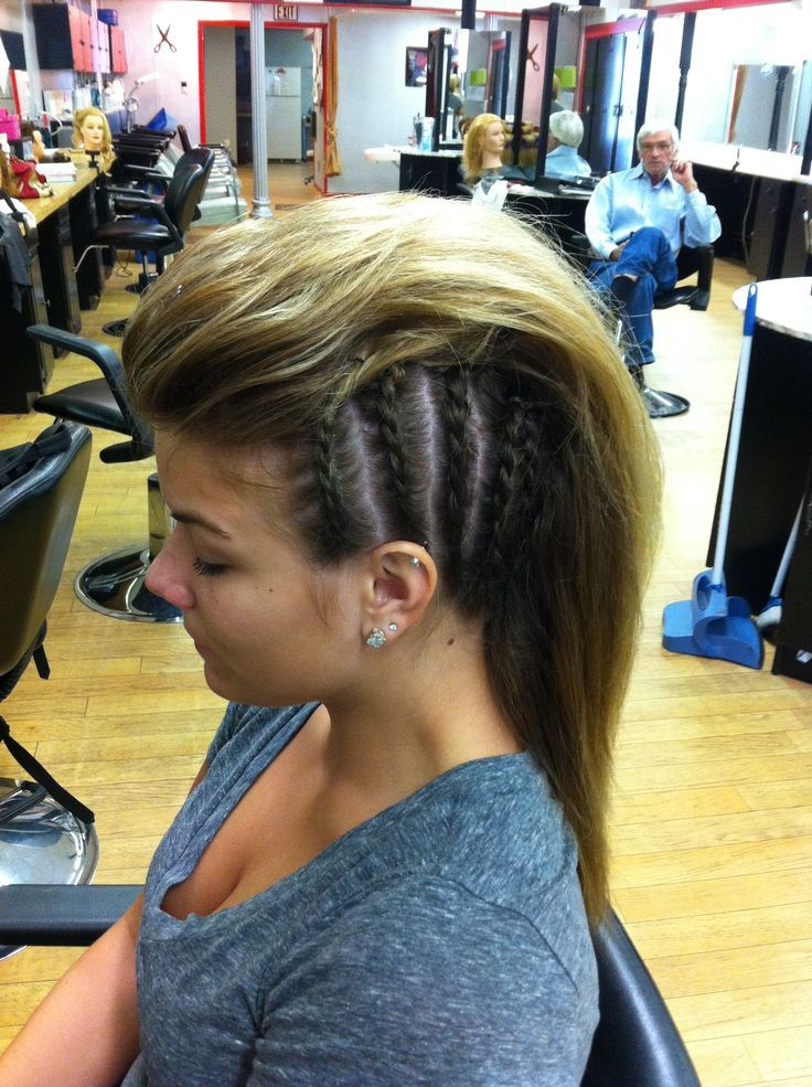 White girl braided mohawk