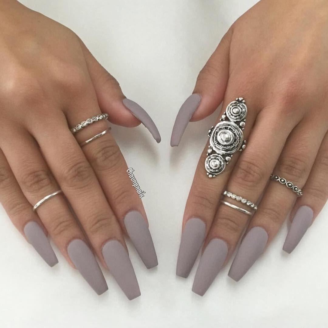Matte Gray 3 Fall Acrylic Nails Gray Nails Grey Matte Nails