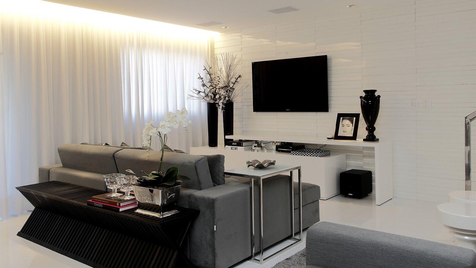 Salas De Estar Jantar E Tv Integradas E Decoradas De Preto Branco  -> Sala Cinza Preto