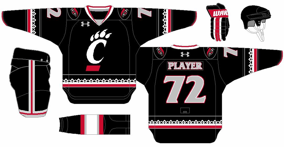 Under Armour Hockey Concept For The Cincinnati Bearcats Road Uniform Using The New Cincinnati Stripe Cincinnati Bearcats Bearcats Ice Hockey